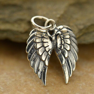 Steampunk Wing Charm Angel Pendant Necklace 925 Sterling Silver Double Goth 1128