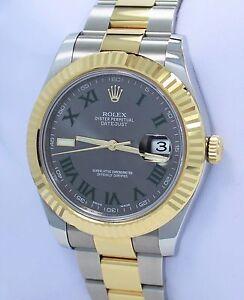 ed6d6b25b69 Rolex Datejust II 116333 41mm 18K Yellow Gold  SS Roman Grey Dial ...