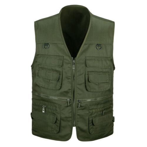Hommes Gilet veste outil sans manche Multiple poches Vêtement travail manteau