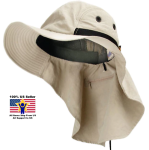 Khaki Fisherman Safari Sun Visor Neck Flap Packable Hiking Summer ... e28f254fcf8