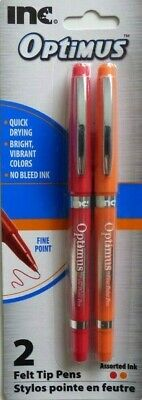2 Inc Optimus Fine Point Felt Tip Pens with Caps 2 Packs