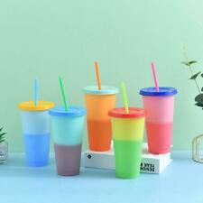 1PC Color Changing Tumblers Lids Straws 24oz Reusable Cup BEST Gift Cold J8O9