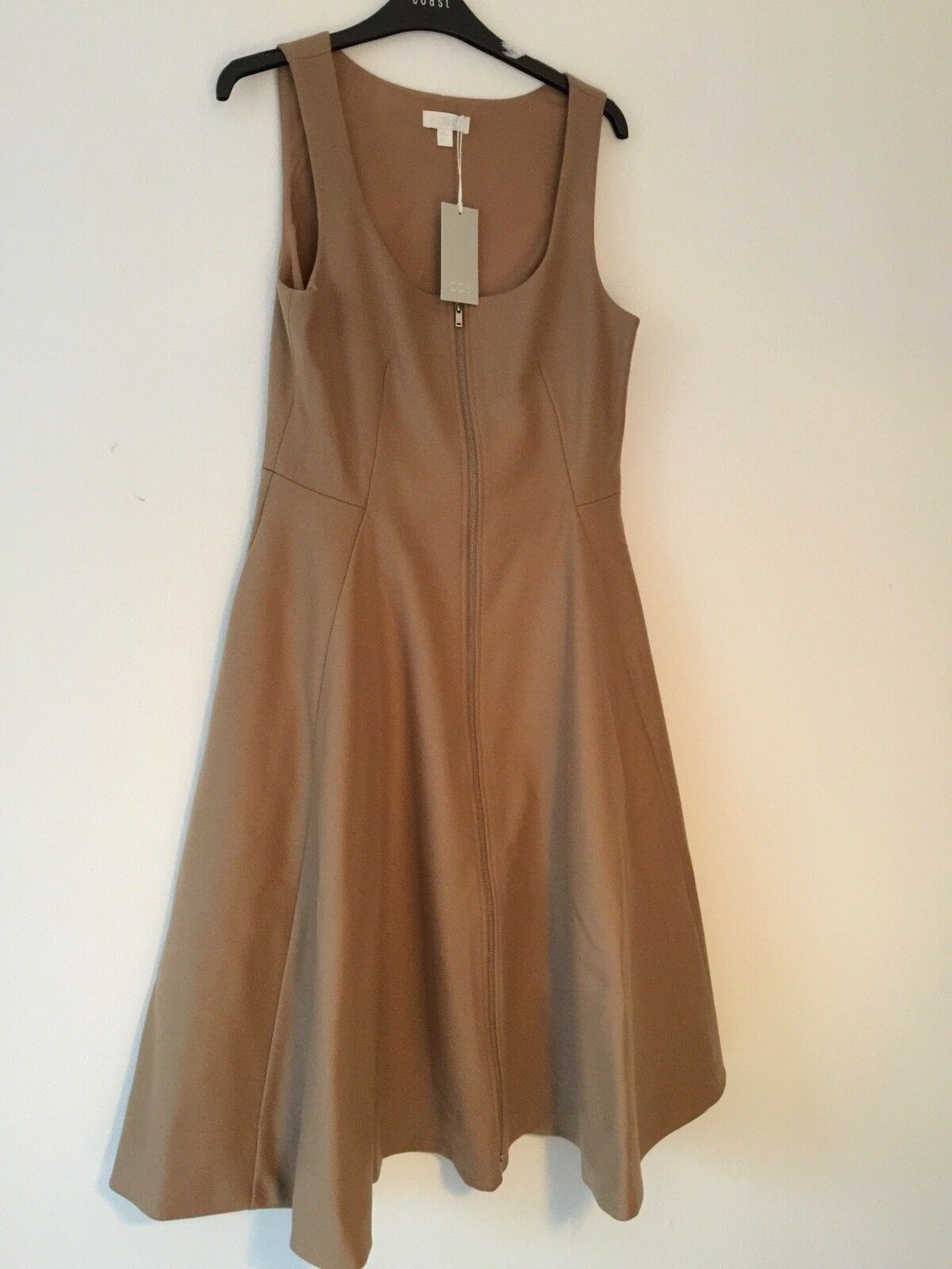 Cos -- Cashmere Wool - A  Line Dress - Size - 10 - New With Tag - Camel Beige