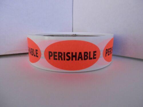 PERISHABLE 1x2 oval fluorescent red//orange stickers labels 250//rl