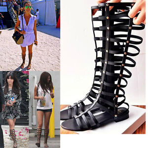 e842a1f8a961 UK 2-7 Womens Knee High Lace Up Sandals Ladies Gladiator Flat Summer ...