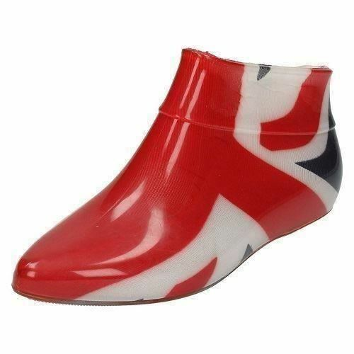 X1186- Ladies Funky Red, White & Blue Union Jack Design Low-Ankle Wellies *SALE*