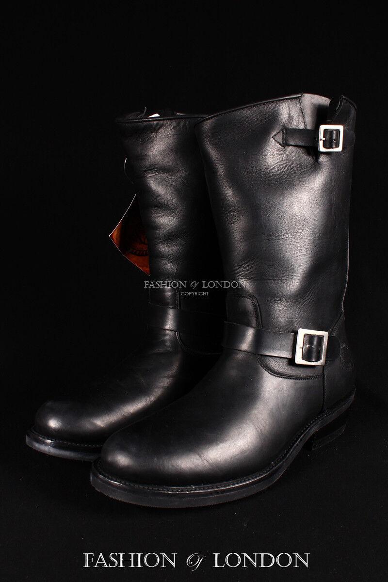 Unisex GRINDERS REBEL Black Black REBEL Biker Motorcycle Motorbike Leather Calf Boots Shoe 3b058c