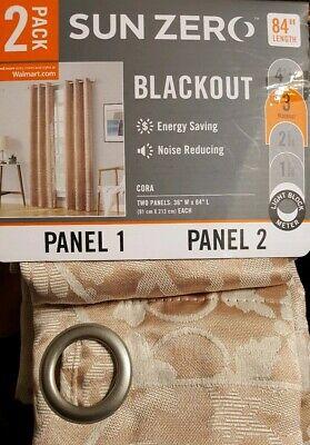 Sun Zero 2-Pack Medallion Blackout Grommet Curtain Panel Pair *Pckg is damaged