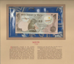 Most Treasured Banknotes Malta 1979 1 Pound Lira P-34b UNC Prefix A/16
