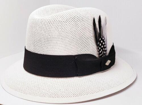 Mens Classic White lowrider center crease  hat fedora Derby