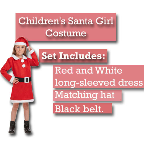 Kids Santa Costume Christmas Father Suit Fancy Dress Xmas Girls Festive Party UK