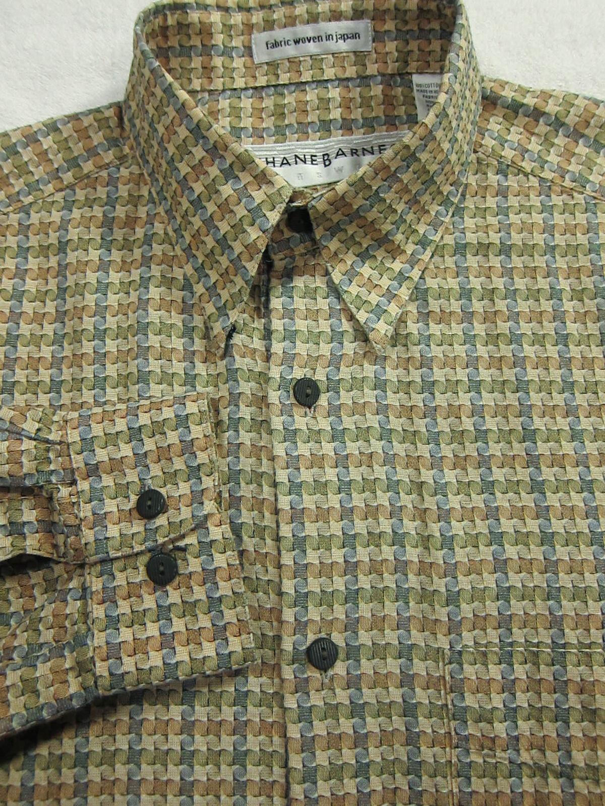 GORGEOUS Jhane Barnes Japan Cotton Tan With Circles Shirt S 15.5x32