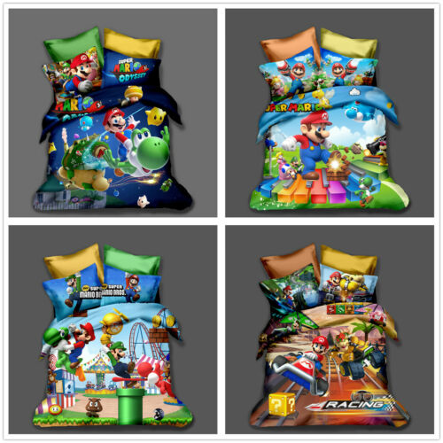 3D Super Mario Bros Kids Bedding Set Duvet Cover Pillowcase Comforter Cover