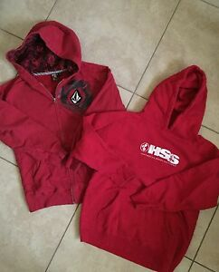 Image Is Loading Lot Of 2 Sweatshirts Hoos Red Volcom Hss