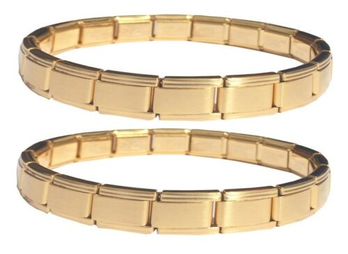 Wholesale Lot Of Gold Tone 9mm Italian Charm Starter Bracelets 18 Modular Links