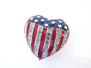 RUCINNI-Enamel-Jeweled-Trinket-Box-Stars-amp-Stripes-American-Flag-Puffy-Heart