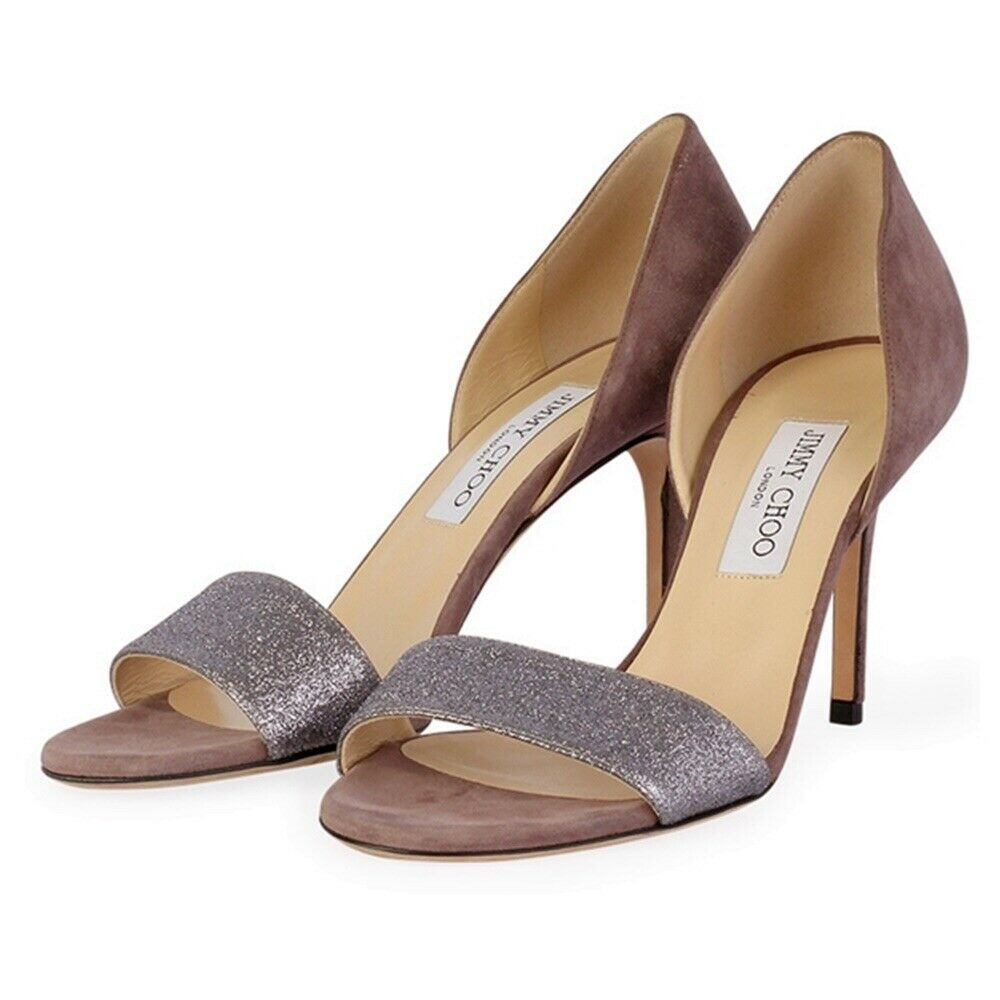 JIMMY CHOO Logan Grey Suede Glitter Heels Size EU 39   US 9