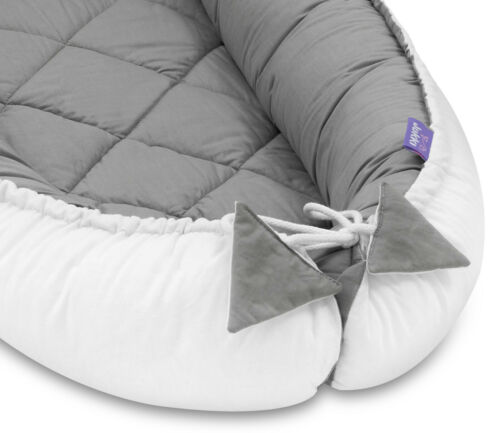 BABY NEST POD 55x100 cm Cocoon Sleeping Bed Sleepyhead QUILTED Pink Grey DELUXE