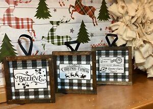 3-Farmhouse-Style-Christmas-Ornaments-Or-Mini-Signs-Holidays-Buffalo-Check