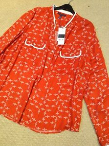 Red-White-Patterned-Long-Sleeve-Blouse-New-Size-22-Mango-Reduced