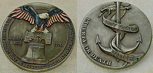 LIBERTY-Bell-Antique-Silver-Coin-Eagle-JUSTICE-American-Independance-Medal-Death