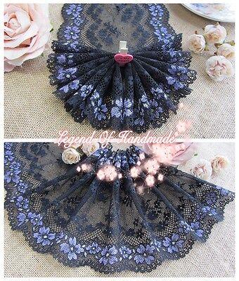 "5Y 6"" Elastic Stretch Floral Lace Trim~Black+Purple+Light Green~Daisy Bloom~"