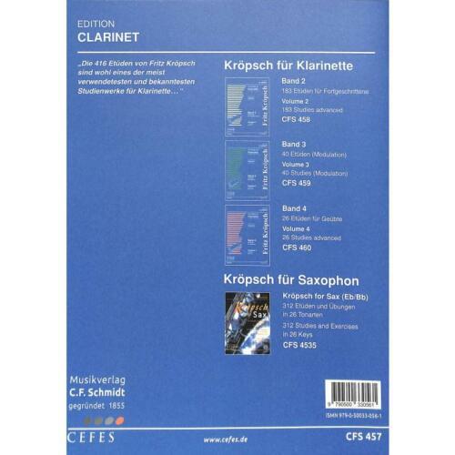 Noten für Klarinette 457 Kröpsch Friedrich 167 Etüden für Anfänger