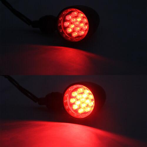 4x Motorcycle Black 15 LED Brake Stop Running Turn Signals Light Red 10mm Custom