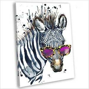 Zebra With Sunglasses Watercolour Canvas Print Framed ...