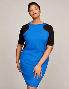 Lane Bryant Colorblock Sheath Dress Womens Plus Size 28 Blue/Black ...