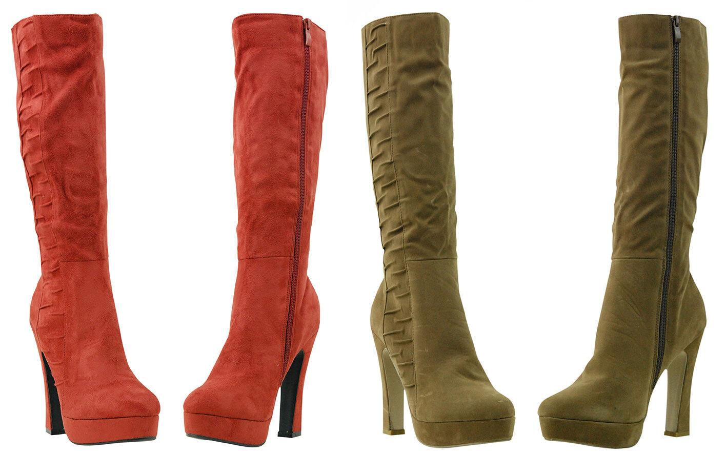 NEW Women Faux Suede Slouch Sexy Knee High Heel Platform Zip Winter Ridge Boot