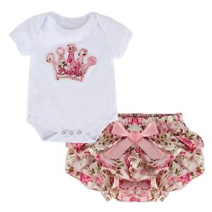 2PCS Newborn Kids Baby Girls Outfit Romper+Ruffle Diaper Pants Skirt Clothes Set
