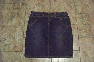 womens daisy fuentes faded dark wash denim jeans skirt size 8 32