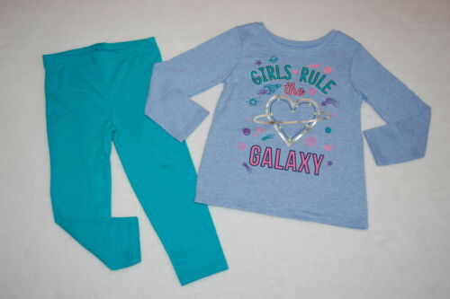 Toddler GIRLS RULE THE GALAXY Lt Blue L//S T-Shirt ROCKET STAR Teal Leggings 3T