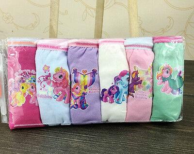 6 Pairs My Little Pony Kids Girl's Briefs Panties Underpants Underwear A269