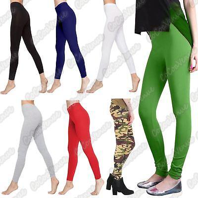 New Ladies Plain Stretchy Viscose Full Ankle Length Skinny Leggings Trouser Pant