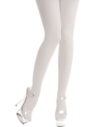 One Size BN White Opaque Tights Fancy Dress Adult Wedding Bride Accessory