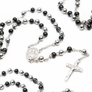 Rosenkranz-Edelstahl-Kette-Jesus-Kreuz-Unisex-Damen-Herren-Halskette-Silberfarbe
