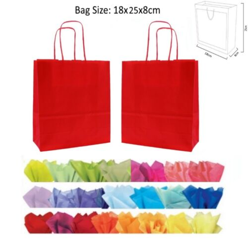 10 Red Paper Gift Bags With Tissue Paper Recyclable Twist Handle Party Bag