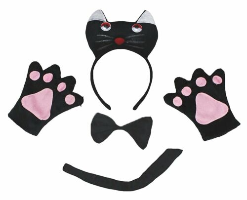 XMAS Halloween 3D Animal School Party Unisex Kids Child Headband Bow Tail Paw 4P