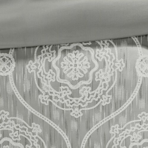 QUEEN Size Silver Grey 8 Piece Reversible Jacquard Comforter Set Machine Wash