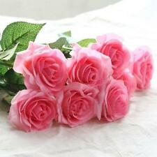 Artificial Pink Rose Silk Flower Leaf Home Wedding Decor Bridal Floral Bouquet R