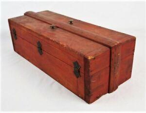 Antique-Vintage-Primitive-Wood-Rustic-Red-Painted-Tool-Box
