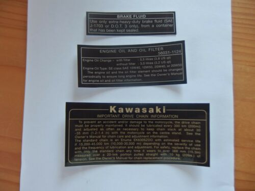 Kawasaki GPZ550 UT GPZ750 UT Z750 1100UT Turbo Warning Aufkleber Set