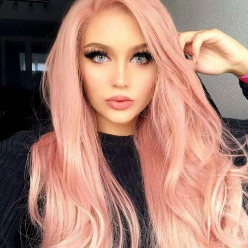 28/'/' Women Pink Wig Long Curly Wave Hair Fashion Nature Hair Cosplay Party Dress
