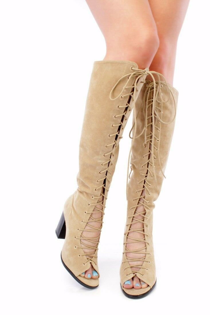 Lot FRONT LACE UP UP UP PATENT THIGH HIGH OPEN TOE SINGLE SOLE CHUNKY HEEL Stiefel e89439