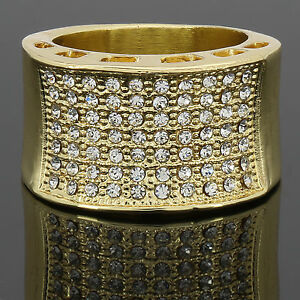 038bfb4925a8bb Mens 14k Gold Plated Iced Out Hip Hop Style 7 line Round Ring CZ ...