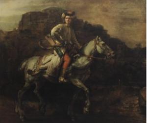 1942-Rembrandt-Van-Rijn-The-Polish-Rider-Dutch-Romanticism-Vintage-Litho-S675