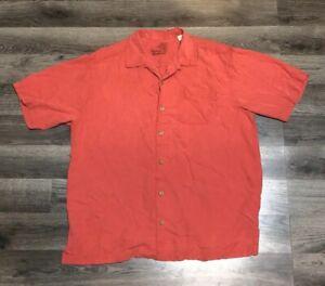 Tommy-Bahama-Mens-Size-Medium-Camp-Shirt-100-Silk-Red