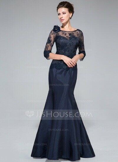 Trumpet/Mermaid Off-the-Shoulder Floor-Length Taffeta Lace Mother of the Bride